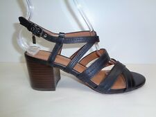 Coach Size 6 TERRI Black Leather Strappy Block Heels Sandals New Womens Shoes