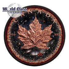 2016 1 oz .9999 Fine Silver Maple Logarithmic Universe Coin - Ruthenium 24K Gold