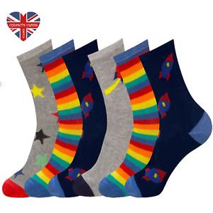 Boys Girls Ankle Socks Children Kids Multicoloured Design Novelty 3,6,12 Pack