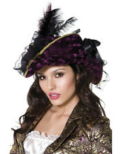 Womens Caribbean Pirate Captain Purple Hat With Feathers Costume Accessory
