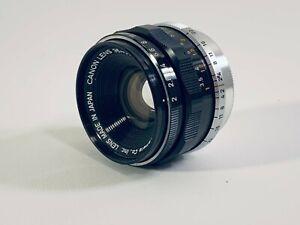 Canon 35mm F2 lens Leica screw mount LTM M39