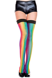 Music Legs Zig Zag Rainbow Thigh Hi with Black Top 4680
