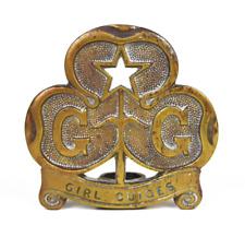 More details for vintage old girl guides emblem brass flag banner pole top finnial
