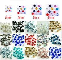 Wholesale 3mm/4mm/6mm/8mm Bicone Faceted Crystal Glass Loose Spacer Beads Lot