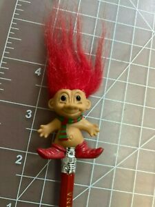"""Vintage Russ Christmas Elf Troll with red hair- Pencil Topper 1 1/2"""""""