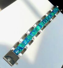 """WIDE Men 7.5 """" Link Black Blue Fire Opal Bracelet Sterling Silver 925 Man Gent"""
