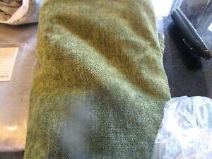 2 West Elm Worn Velvet textured Curtains drapes panel green tarragon olive 48 84