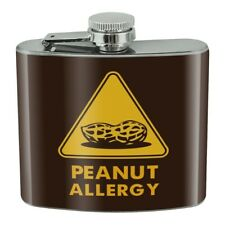 New listing Peanut Allergy Yellow Warning Sign Stainless Steel 5oz Hip Drink Kidney Flask