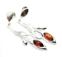 Beautiful 925 Sterling Silver & Baltic Amber Designer Earrings SilverAmber 8082