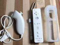 Genuine Original Nintendo Wii Remote Controller White RVL-003 + Nunchuck & Cover