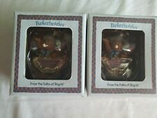"2 New 2004 Basketbearies Boyds Bear figurines Happy ""A Basket of Birthday Wishes"