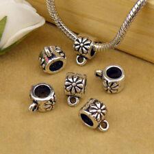 5Pcs Tibetan Silver Flower 5mm Hole Bail Bead Fit Charm Bracelet 6.5x10.5 A4162