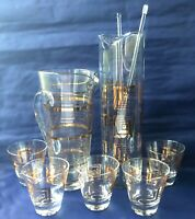 Vintage Mid-Century Cocktail Bar Set Gold Squares Martini Pitcher Mixer Glasses