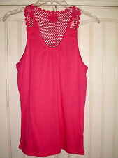 Ava & Grace Crocheted Back Sleeveless Top Color is Fuchsia, Sz Petite Large NWT