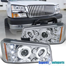 For 2003-2006 Chevy Silverado LED Halo Projector Headlight Lamps Replacement