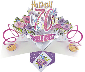 70th Birthday Card 3D Pop Up Card Female Sister Friend Mum Gran Gift Card