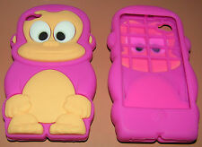 Cartoon Monkey Heavy Silicone Case for Apple iPhone 4/4s, Yellow/White/Pink, NEW