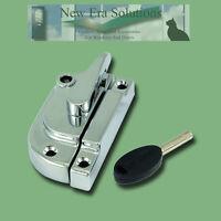 Locking Fitch Fastener, Catch, Sash Window Lock, Satin, Brass, White or Chrome.