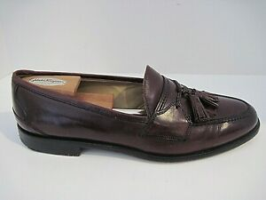 JOHNSTON & MURPHY Handcrafted Burgundy Leather Tassel Loafers Size 10 M Italy