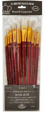 Royal Set 12 Artists Large Firm White Bristle Brushes.For Acrylic Oil  RSET-9320