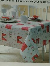 """Living Quarters Christmas Wishes Fabric Tablecloth 52 x 70"""" Rectangle brand new"""