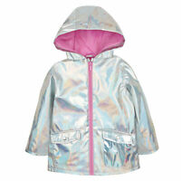 Girls Holographic Iridescent Shiny Silver Raincoat Hooded Jacket Kids Metalic