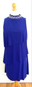 Jessica Howard Royal Blue Rhinestone Collar Cocktail Dress Size 14