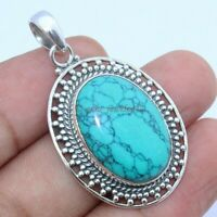 Natural Turquoise Gemstone Pendant 925 Sterling Solid Silver Large Jewelry