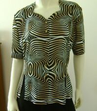 New listing Women's Animal Print Button Front Blouse Top Size L Elbow Sleeve Brown Vintage