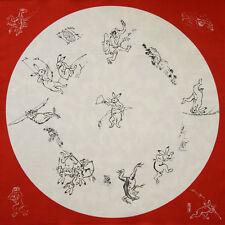 """68cm """"Choju-giga"""" älteste Karikatur in Japan Furoshiki Rot Baumwolle"""