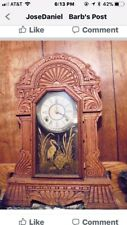 Stunning Wooden Old Clock With Wind Up Key.needs Some Repair