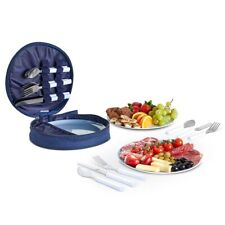 VonShef Picnic Set Utensils Cutlery 4 Person Outdoor BBQ Camping Dining Blue
