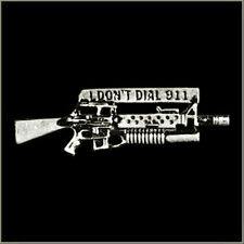 ''I Don't Dial 911'' Biker gun  Pin