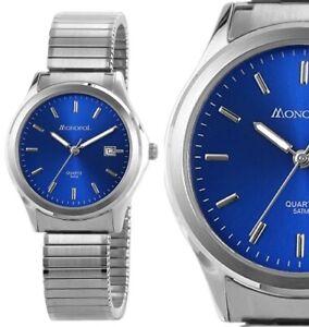 Herrenuhr Männer Armbanduhr Blau Silber Edelstahl Zug Flex Stretchband MONOPOL