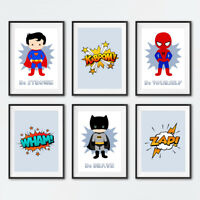 Superhero Prints Set Childrens Boys Bedroom Wall Art Nursery Pictures Decoration