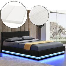 Polsterbett Kunstlederbett  mit LED Bettkasten Bettgestell Matratze 140 x 200 cm