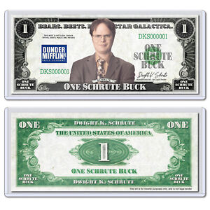 Collectible Novelty Dwight Schrute Buck Dollar Bill with Case The Office NBC