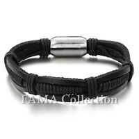 FAMA Black Braided Rope Leather Bracelet with Stainless Steel Magnet Closure