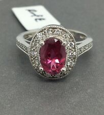 18K Solid White Gold Oval Shape Natural Diamond and Pink Tourmaline Ring