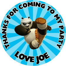 24 KUNG FU PANDA, PERSONALISED, KID'S PARTY STICKERS, LABELS GLOSS