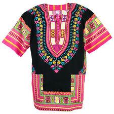 Cotton African Dashiki Mexican Poncho Hippie Tribal Shirt Blouse Black ad13p