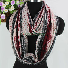 Women Vintage Lace Floral Dots Pattern Soft Long Scarf /Infinity Great Scarf New