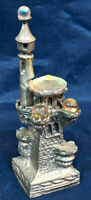 """HEAVY PEWTER DRAGON'S CASTLE SPIRES TOWER WITH ORBS. VINTAGE 3.75"""" In. C.I."""