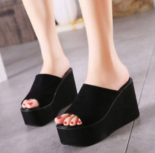 Womens Wedge Mules High Heels Slippers Casual Platform Shoes Open Toe Sandals