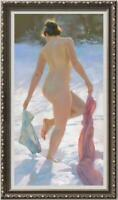 "Hand painted Original Oil Painting art Portrait nude girl on Canvas 24""x40"""