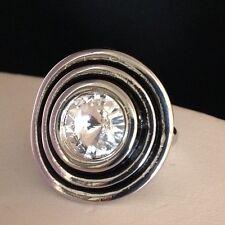 DESIGNER STATEMENT RING Silver Large Clear Rivoli Crystal Enamel Size 10 2c