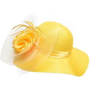 Satin Ribbon Women Dress Church Bridal Wedding Kentucky Derby Party Hats A433