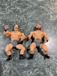 Vintage 1980s Wrestling Champions KO Tag Team Action Figures w/ Title Belts