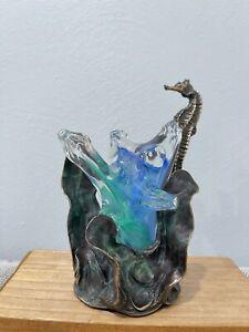 Michael Storey Signed Bronze & Glass Sculpture w/ Seahorse Decoration