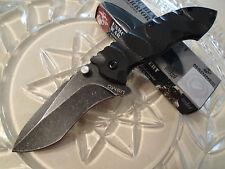 USMC Licensed Assisted Warrior Tanto Tactical Pocket Knife Black G10 420A 3148